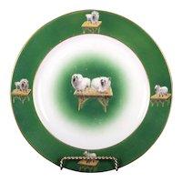 10 Green Pomerian Dog Plates, England