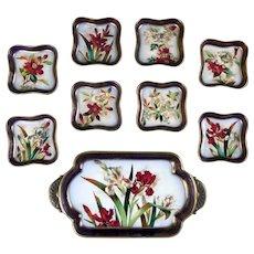 19th Century Doulton Burslem Hand-Painted Floral Dessert Set