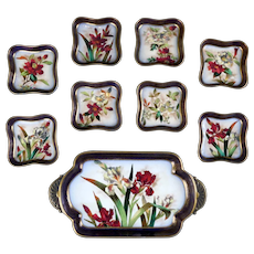19th Century Doulton Burslem Hand-Painted Floral Dessert Set