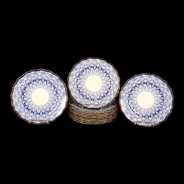 11 Antique Doulton Burslem Blue Plates