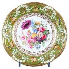 Antique Rockingham Hand-Painted Botanical Plates