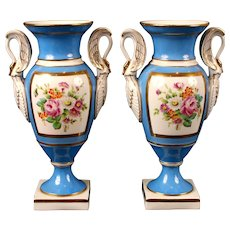 Pair of Sevres-Style Blue Urn Vases