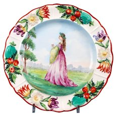 Set of 10 Hand-Painted Dresden Plates: Medieval Fashions
