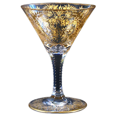 7 Gold Gilded and Engraved Crystal Goblets