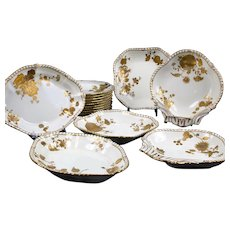 19th Century Derby Botantical  Two-colored Gold Encrusted Service: 18 Pieces