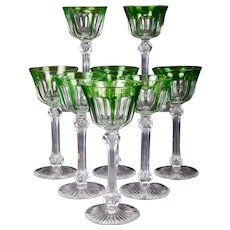 8 Vintage Cut-to-Clear Green Wine Glasses