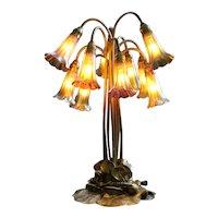 Tiffany Studios Gold Ten-Light Lily Table Lamp, Authentic Tiffany Shades