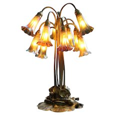 Tiffany Studios Gold Ten-Light Lily Table Lamp, Authentic Tiffany Shades