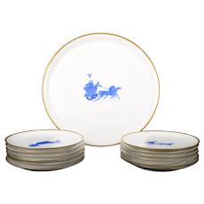 Le Tallec France Hand-Painted Dessert Set