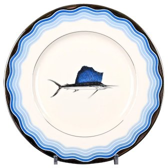 12 Vintage Lenox Sailfish Plates, nautical