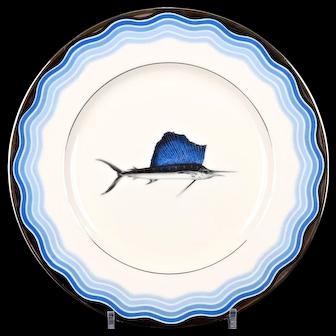 12 Vintage Lenox Sailfish Plates, nautical
