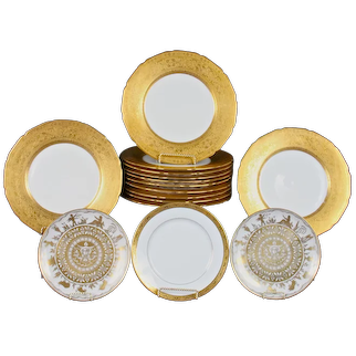 Limoges Service for 10 Featuring Le Tallec Hand-Painted Horoscope Plates