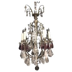 Gorgeous Antique French Rock Crystal and Amethyst Nine-Armed Chandelier