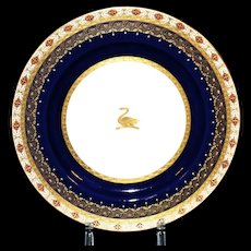 12 Antique Minton Armorial Cobalt and Rust Dinner or Service Plates: gold encrusted/gold beading/platinum/gilt/gilded