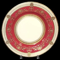 12  Minton for Tiffany Red Medallion Dinner or Service Plates