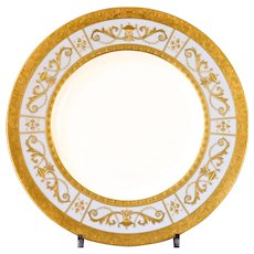 24 Blue/Grey Minton Plates: 12 Heavily Gold-Encrusted Plates with 12 Matching Small Plates