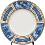 Pair of Minton  Pate-sur-Pate Blue Plates for Tiffany, by artist Albion Birks