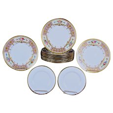 12 Minton Lilac and Gold Encrusted Hand-Painted Floral Panel Plates