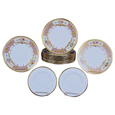 Service of 11 Minton Lilac Hand-Painted Floral Plates with Accompanying Plates