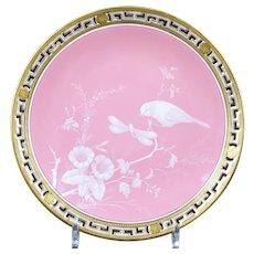 9 Antique Minton Pâte-sur-Pâte Pink Plates, artist signed