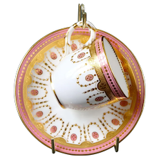 12 Minton Neoclassical Style Pink Gold Encrusted Demitasse, antique
