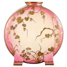 Minton Gilded Pink Moon Vase, gilt and platinum accents, hand-gilded