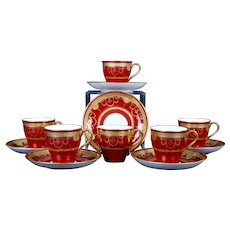 6 Minton For Tiffany Red Demi-Tasse Gilded Medallion Cups
