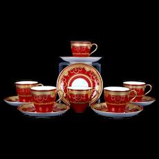6 Minton Red Demi-Tasse Gilded Medallion Cups