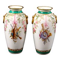 Pair of Hand-Painted English Trophy Vases, Minton