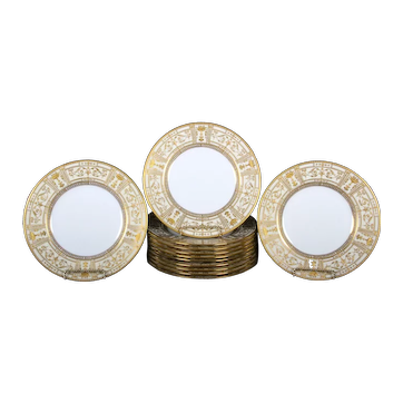 12 Minton, England Finely Detailed Gilded Plates with Side Plates