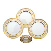 Minton Gilded Service for 10, dinner plates and cream soup