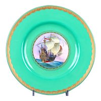 11 Antique Minton Green Nautical Plates, artist J.E. Dean, handpainted