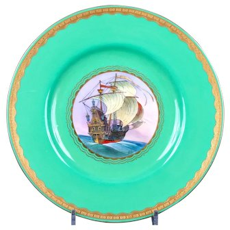 11 Antique Minton Green Nautical Plates, artist J.E. Dean, handpainted