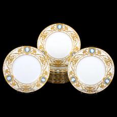 12 Minton Pate-sur-Pate Cameo Plates, by artist Albion Birks