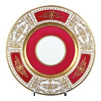 12 Minton for Tiffany Red Gilded Plates
