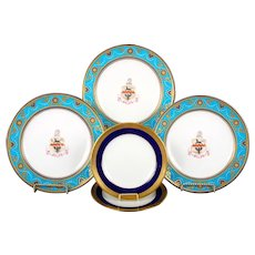 Service of Minton Turquoise and Gold Encrusted Armorial Plates with Side Plates
