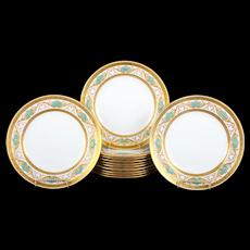 12 Minton Bleu Celeste or Turquoise Gilt Plates