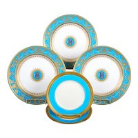 Service of Minton Turquoise and Gold Monogrammed Plates with Side Plates