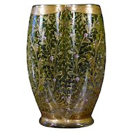 Moser Hand-Painted and Gilded Vase, Small pink flowers on Green