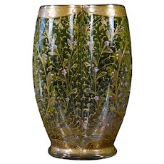 Moser Gilded and Enameled Vase, Small pink flowers on Green