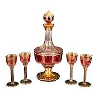 Vintage Bohemian Cranberry Cabochon and Gold Cordial Set