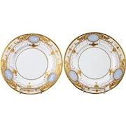 Vintage Pair Of Minton Pate-sur-Pate Trophy Plates, gold encrusted