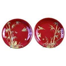 Pair Antique Red Minton Aesthetic Movement Cabinet Plates, Japonesque style