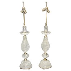 Tall Pair of Rock Crystal Lamps