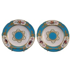 Pair Antique Turquoise Sevres-Style Copeland Plates