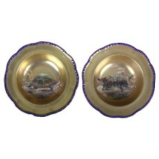 Pair of Antique English Hand-Painted Gilt Turtle Soup Bowls