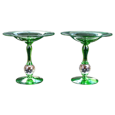 Pair of Pairpoint Green Glass Tazzas