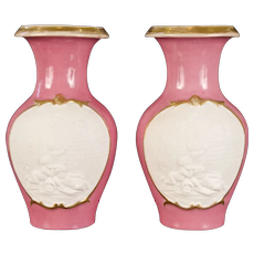 Antique Pair of Small Pink French Porcelain Vases