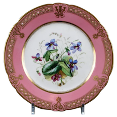 19th Century Staffordshire Rose Pompadour Botanical Dessert Service, hand-painted and jeweled, 21 pieces