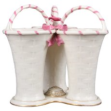 Royal Worcester 3-Welled Pink and White Vase